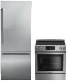 "2 Piece Kitchen Package With BERU30420SS 30"" Electric Freestanding Range and BRFD2652SS 36"" French Door Refrigerator In Stainless Steel"