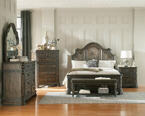 Carlsbad Collection 204041KWSET 6 PC Bedroom Set with California King Size Panel Bed + Dresser + Mirror + Chest + Nightstand + Bench in Vintage Espresso Finish