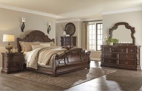 Florentown Queen Bedroom Set with Sleigh Bed, Dresser, Mirror, 2x Nightstands and Chest in Dark Brown