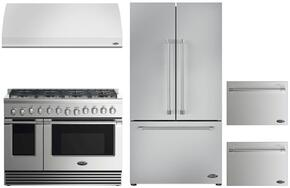 "4 Piece Kitchen Package With RDV2488N 48"" Dual Fuel Freestanding Range, VS48 48"" Wall Mount Hood, RF201ACJSX1 36"" French Door Refrigerator and two DD24SV2T7 24"" Dishwasher Drawers in Stainless Steel"