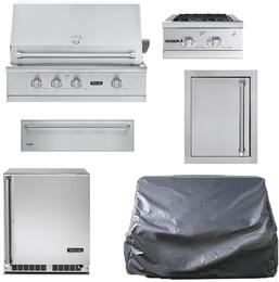 """6-Piece Stainless Steel Outdoor Kitchen Package with VGBQ53624NSS 36"""" Natural Gas Grill, Undercounter Refrigerator, Double Side Burners, Single Access Door, Storage Drawer, and Grill Cover"""