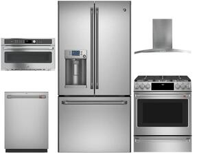 "5-Piece Stainless Steel Kitchen Package with CFE28TSHSS 36"" French Door Refrigerator, CGS995SELSS 30"" Slide In Dual Fuel Range, PV970NSS 30"" Wall Mount Hood, CWB7030SLSS 30"" Built In Microwave, and CDT835SSJSS 24"" Dishwasher"
