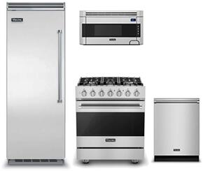 "4-Piece Kitchen Package with VCRB5303LSS 30"" Built In All Refrigerator, RVDR33025BSSLP 30"" Dual Fuel Freestanding Range, RVDW103SS 24"" Built In Dishwasher and  RVMH330SS 30"" Over The Range Microwave Oven in Stainless Steel"