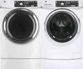 "White Front Load Laundry Pair with GFW490RSKWW 28"" Washer and GFD49GRSKWW 28"" Gas Dryer"
