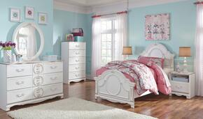 Korabella Twin Bedroom Set with Panel Bed, Dresser, Mirror and Night Stand in White Finish