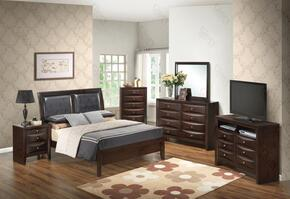 G1525ATBDMNCHTV2 6 Piece Set including  Twin Size Bed, Dresser, Mirror, Nightstand, Chest and Media Chest in Cappuccino