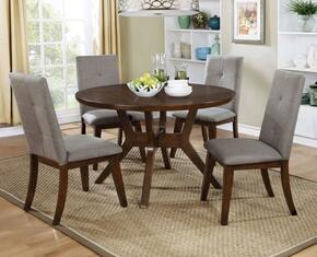 Abelone Collection CM3354RT4SC 5-Piece Dining Room Set with Round Table and 4 Side Chairs in Walnut
