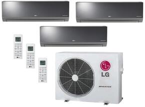 LMU24CHVPACKAGE6 Triple Zone Mini Split Air Conditioner System with 27000 BTU Cooling Capacity, 3 Indoor Units, and Outdoor Unit