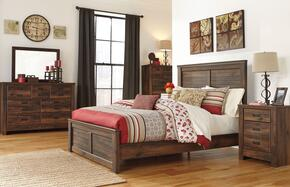 Bowers Collection King Bedroom Set with Panel Bed, Dresser, Mirror, Nightstand and Chest in Dark Brown