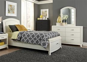 Avalon II Collection 205-YBR-FLSDM 3-Piece Bedroom Set with Full Storage Bed, Dresser and Mirror in White Truffle Finish