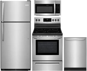 "4-Piece Stainless Steel Kitchen Package with FFTR1821TS 30"" Top Freezer Refrigerator, FFEF3054TS 30"" Freestanding Electric Range, FFID2426TS 24"" Fully Integrated Dishwasher and FFMV1645TS 30"" Over-the-Range Microwave"