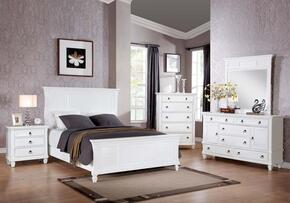 Merivale 22420Q5PC Bedroom Set with Queen Size Bed + Dresser + Mirror + Chest + Nightstand in White Color