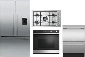 "4 Piece Stainless Steel Kitchen Package With RF201ADUSX5 36"" French Door Refrigerator, OB30SDEPX3 30"" Electric Wall Oven, DD24DCTX9 24"" Drawers Dishwasher and CG365DLPX1 36"" Gas Cooktop For Free"