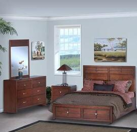 05060FBDMN Kensington 4 Piece Set with Full Storage Bed, Dresser, Mirror and Nightstand, in Burnished Cherry