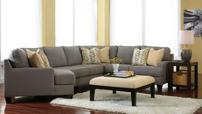 Peyton Collection MI-58594LCDSSACO2ETR2L-ALLO 7-Piece Living Room Set with 4PC Left Cuddler Sectional, Accent Ottoman, 2 End Tables, Rug and 2 Lamps in Alloy