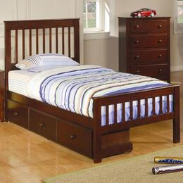 Parker 400290TSETB 3 PC Bedroom Set with Twin Slat Bed + Chest + Trundle in Chestnut Finish