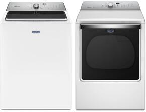 "White Front Load Laundry Pair with MVWB865GW 28"" Washer 5.2 cu. ft. Capacity and MGDB835DW 29"" Gas Dryer"