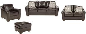Coppell DuraBlend Collection 59001SLCO 4-Piece Living Room Set with Sofa, Loveseat, Living Room Chair and Ottoman in Chocolate