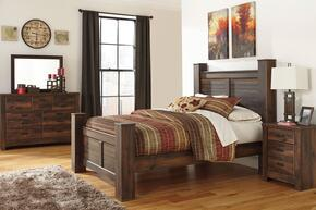 Quinden Queen Bedroom Set with Poster Bed, Dresser, Mirror and Nightstand in Dark Brown