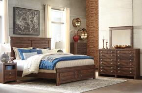 Hammerstead King Bedroom Set with Storage Bed, Dresser, Mirror, 2x Nightstand and Chest in Brown