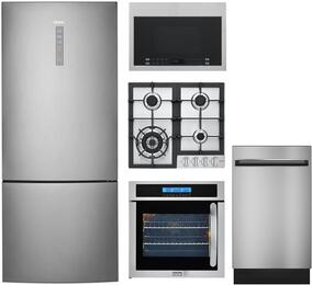 "5-Piece Stainless Steel Kitchen Package with HRB15N3BGS 28"" Bottom Freezer Refrigerator, HCC2230AGS 24"" Natural Gas Cooktop, HCW225LAES 24"" Single Wall Oven, HMV1472BHS 24"" Over the Range Microwave, and DWL7075MSS 24"" Dishwasher"