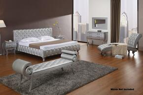VGKCMONTEPLATINUMQ6PC Modrest Monte Carlo 6 PC Bedroom Set with Queen Size Bed + Dresser + Bench + Chaise + 2 Nightstands