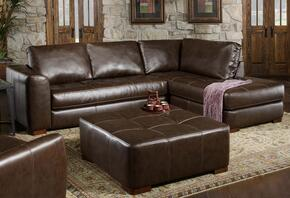 7302756172148018Co Fairfax Sectional Left Arm Facing Chaise, Left Arm Facing Sofa, Ottoman, Bonded Leather and Sinuous Springs in Capri Dark Brown