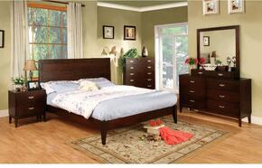 Crystal Lake Collection CM7910QBDMCJN 6-Piece Bedroom Set with Queen Bed, Dresser, Mirror, Chest, Jewelry Storage and Nightstand in Dark Cherry Finish
