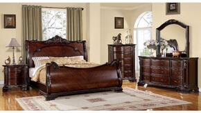 Bellefonte Collection CM7277QBDMCN 5-Piece Bedroom Set with Queen Bed, Dresser, Mirror, Chest and Nightstand in  Cherry Finish