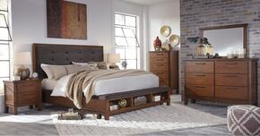Holloway Collection King Bedroom Set with Panel Bed, Dresser, Mirror, Nightstand and Chest in Medium Brown