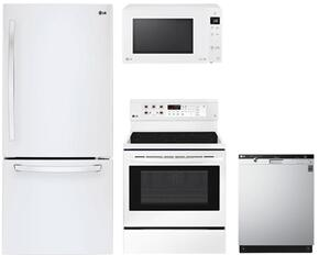 "4-Piece Kitchen Package with LDCS22220W 30"" Bottom Freezer Refrigerator, LRE3193SW 30"" Freestanding Electric Range, LMC1375SW 22"" Countertop Microwave, and LDS5540WW 24"" Built In Semi-Integrated Dishwasher in White"