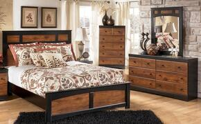 Tucker Collection Queen Bedroom Set with Panel Bed, Dresser and Mirror in Two Tone Brown