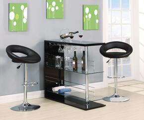 Valdin 71305T2S 3 PC Bar Table Set with Bar Table + 2 Swivel Stools in Black and Chrome Finish
