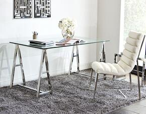 Deko DEKODESTSET 2 PC Desk Set with Desk + Lounge Chair in Stainless Steel