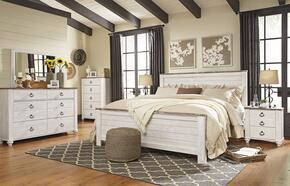Willowton King Bedroom Set with Panel Bed, Dresser, Mirror and Single Nightstand in Whitewashed Color
