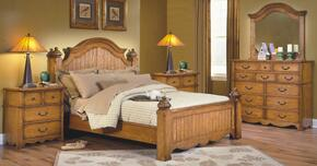 4431EBDMNN Hailey 5 Piece Bedroom Set with King Poster Bed, Dresser, Mirror and Two Nightstands, in Toffee