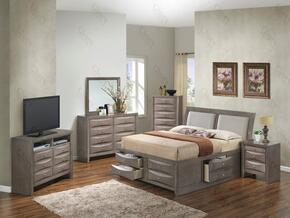 G1505IQSB4NTV2 3 Piece Set including  Queen Size Bed, Nightstand and Media Chest  in Gray