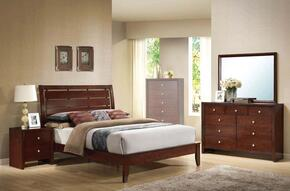 20397EK4PCSET Ilana Eastern King Size Bed + Dresser + Mirror + Nightstand in Brown Cherry Finish