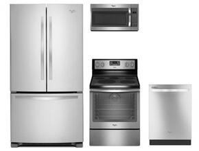 """4 Piece Kitchen package With WFE540H0ES 30"""" Electric Range, WMH31017FS Over The Range Microwave Oven, WRF535SMBM 36"""" French Door Refrigerator and WDT720PADM 24"""" Built In Dishwasher In Stainless Steel"""