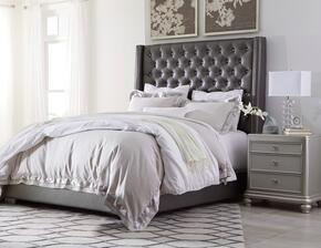 Coralayne Collection King Bedroom Set with Panel Bed and Nightstand in Gray