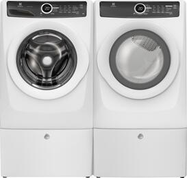 "White Front-Load Laundry Pair with EFLW417SIW 27"" Washer, EFME417SIW 27"" Gas Dryer and 2 EPWD157SIW Pedestals"