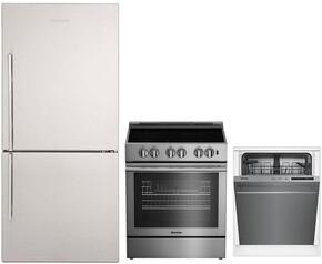 """3-Piece Kitchen Package with BRFB1812SSN 30"""" Bottom Freezer Refrigerator, BDFP34550SS 30"""" Slide-in Electric Range, and a free DWT56502SS 24"""" Built In Fully Integrated Dishwasher in Stainless Steel"""