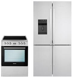 "2 Piece Kitchen Package With BERU24100SS 24"" Electric Freestanding Range and BRFD2652SS 36"" French Door Refrigerator In Stainless Steel"