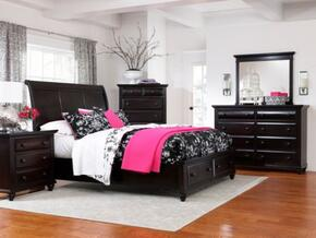 Farnsworth Collection 5 Piece Bedroom Set With King Size Sleigh  Storage Bed + 2 Nightstands + Dresser + Mirror: Black
