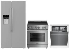 """3-Piece Kitchen Package with BSBS2230SS 36"""" Side by Side Refrigerator, BIRP34450SS 30"""" Slide In Electric Range, and a free DWT56502SS 24"""" Built In Full Console Dishwasher in Stainless Steel"""