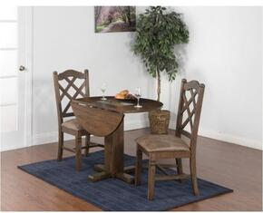 Savannah Collection 1223ACDT2C 3-Piece Dining Room Set with Drop Leaf Table and 2 Chairs in Antique Charcoal Finish