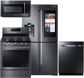"4-Piece Black Stainless Steel Kitchen Package with RF22M9581SG 36"" French Door Refrigerator, NX58J5600SG 30"" Gas Range, DW80M9550UG 24"" Fully Integrated Dishwasher and ME18H704SFG 30"" Over-the-Range Microwave"