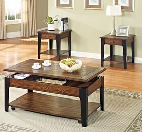 80260C3ET Magus 3 Piece Living Room Table Set with Coffee Table and 2 End Tables in Brown Oak and Black Finish