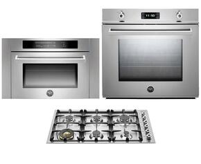 "Professional F30PROXT 30"" Single Electric Wall Oven 3 Piece Stainless Steel Kitchen Package with QB36600X 36"" Gas Cooktop and SO24PROX Built In Microwave"