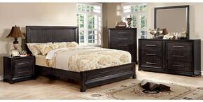 Bradley Collection CM7780QBDMCN 5-Piece Bedroom Set with Queen Bed, Dresser, Mirror, Chest and Nightstand in Dark Grey Finish